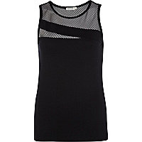 Black mesh insert tank top