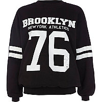 Black Brooklyn athletic 76 print sweatshirt