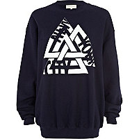 Navy New York City triangle print sweatshirt