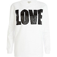 White PU love sweatshirt