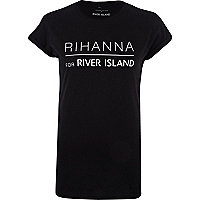 Black Rihanna for River Island print t-shirt