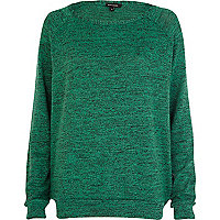 Green marl slouchy oversized top