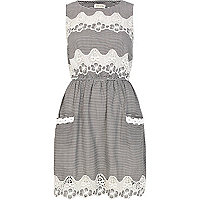 Navy stripe lace insert sleeveless dress