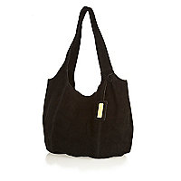 Black suede slouch bag