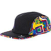 Black aztec print panel trucker hat