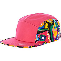 Pink aztec print panel trucker hat