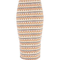 Cream aztec stripe tube skirt