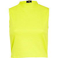 Lime textured zip back turtle neck crop top