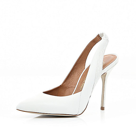 White pointed sling back pumps