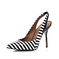 Black and white stripe sling back court shoes