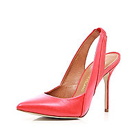 Red pointed sling back court shoes