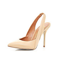 Nude pointed sling back court shoes