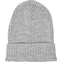 Grey rib knit beanie hat