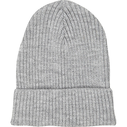Grey rib knit beanie hat