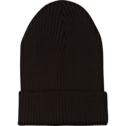 Black turn up ribbed beanie
