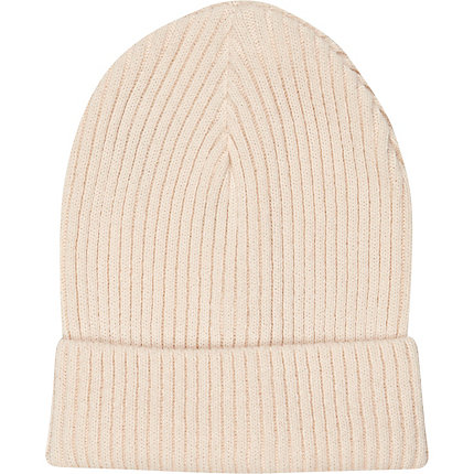 Light pink turn up ribbed beanie