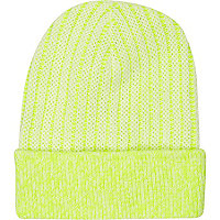 Yellow bright rib knitted beanie hat