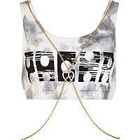 Black Pacha tie dye body chain crop top