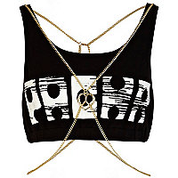 Black Pacha body chain crop top