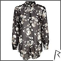 Black Rihanna floral print sheer shirt