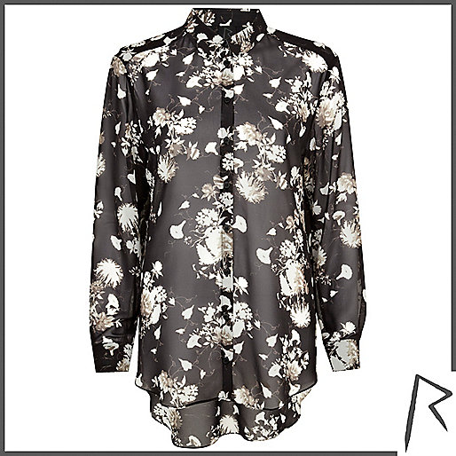 Black Rihanna floral print sheer shirt