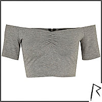 Grey Rihanna bardot crop top