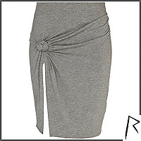 Grey Rihanna knot front thigh split skirt