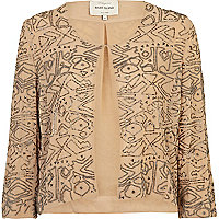 Cream bead embroidered lightweight jacket