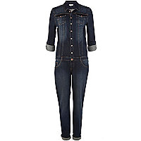 Dark wash denim boiler suit