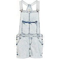 Light acid wash short denim dungarees