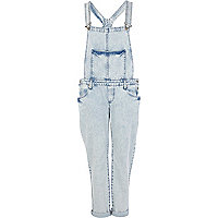 Light acid wash denim dungarees