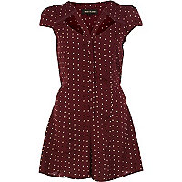 Red polka dot cut out playsuit