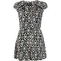 Black and white tribal print cut out playsuit