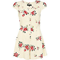 Cream floral cut out playsuit