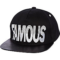 Black famous sequin trucker hat