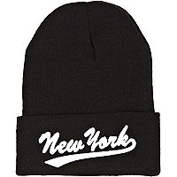 Black New York embroidery beanie hat