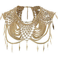 Gold tone draped chain cape-necklace