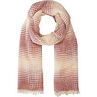Red check long lightweight scarf