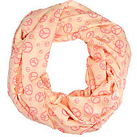 Pink peace print lightweight snood