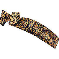 Brown leopard print head scarf