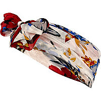 Cream Hawaiian print head scarf