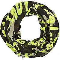 Khaki neon graffiti camo print snood