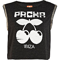 Dark grey Pacha chain trimmed crop tank top