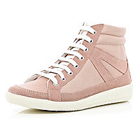 Pink contrast panel lace up high tops