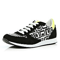 Black tribal print colour block trainers