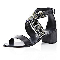 Black embellished strap block heel sandals