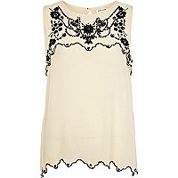 Cream embroidered layer shell top