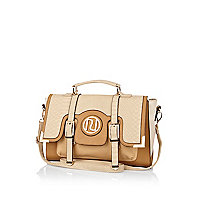 Beige snake colour block satchel
