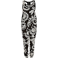 Black and white geometric print jumpsuit