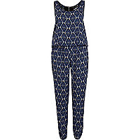 Blue tribal print smart jumpsuit